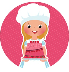 Girl with cake baker vector image vector image