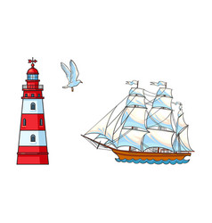 sailing ship lighthouse and seagull set vector image vector image