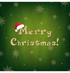 Vintage merry christmas card with santa hat vector