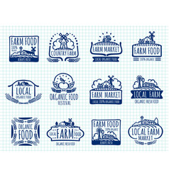 ballpoint pen doodle farm and organic food vector image