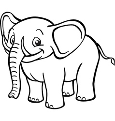 Black and white cartoon elephant vector image vector image