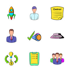 Business rocket icons set cartoon style vector