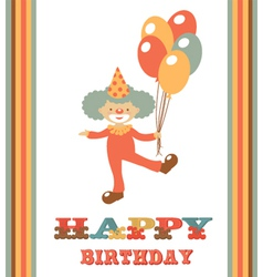 CLOWN BIRTHDAY CARD vector image vector image
