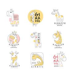 cute little giraffe logo template original design vector image
