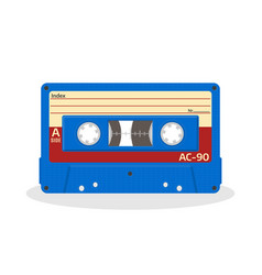 retro audio cassette in blue color isolated on a vector image