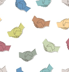 Seamless pattern with drawing of handshakes vector image vector image