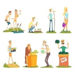 Summer Farm Activities Set vector image