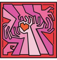 Valentine woodcut hands vector