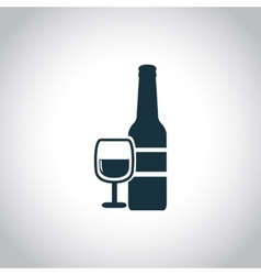 Wine bottle with glass icon vector image