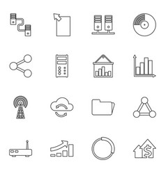16 data icons vector image