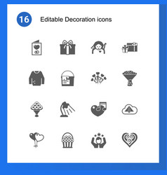 16 decoration filled icons set isolated on icons vector