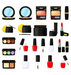 22 colorful cartoon makeup elements vector image