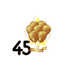 45 year anniversary black gold balloon template vector