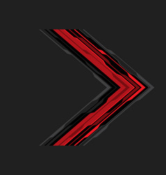 abstract red black arrow circuit on grey vector image