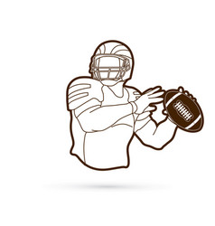 American football player sportsman action vector