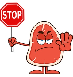 Angry Steak Cartoon with a Stop Sign vector image
