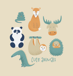 animals set with panda vector image