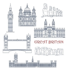 Attractions of Great Britain and Chile linear icon vector image