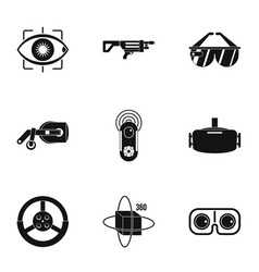 augmented reality icons set simple style vector image