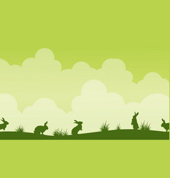 background easter theme landscape silhouette vector image