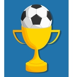 Ball and trophy of soccer sport design vector