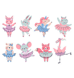 ballet animals bunny fox and unicorn ballerina vector image