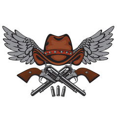 Banner with two old pistols cowboy hat and wings vector