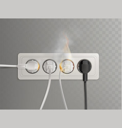 burning electrical outlet with power plugs vector image