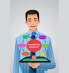 businessman showing marketing strategy from his vector image
