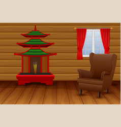 cartoon interior of the chinese living room vector image