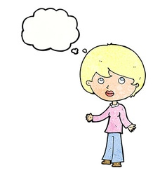 Cartoon woman thinking with thought bubble vector
