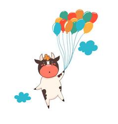 Character bull flies on balloons isolate vector