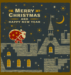 christmas card with santa claus on roof vector image