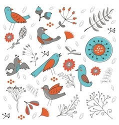 Colorful composition with birds and flowers vector image