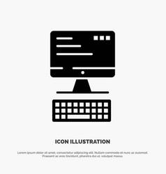 computer keyboard monitor computing solid black vector image
