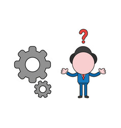 confused businessman character with gears color vector image