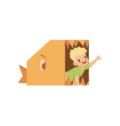 cute boy playing inside a toothy fish made of vector image