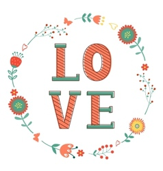 Elegant card with love word in wreath vector
