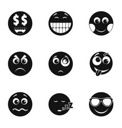 Emoji smile icons set simple style vector