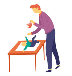 Father changing sons diaper on table child care vector