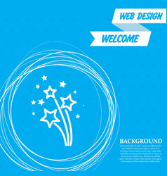 firework icon on a blue background with abstract vector image