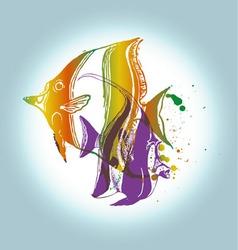 fish print fish print sea sun color yellow vector image