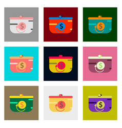 Flat assembly icons of purse discount vector