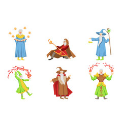 flat set of magicians in different actions vector image