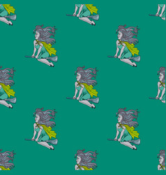 flying witch seamless pattern vector image