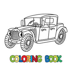 funny retro car with eyes coloring book vector image