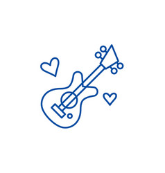 guitar music line icon concept guitar music flat vector image