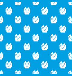 hand heart pattern seamless blue vector image