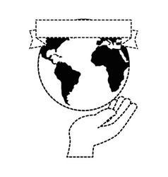 hand human protection with world planet vector image