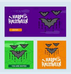happy halloween invitation design with bats vector image